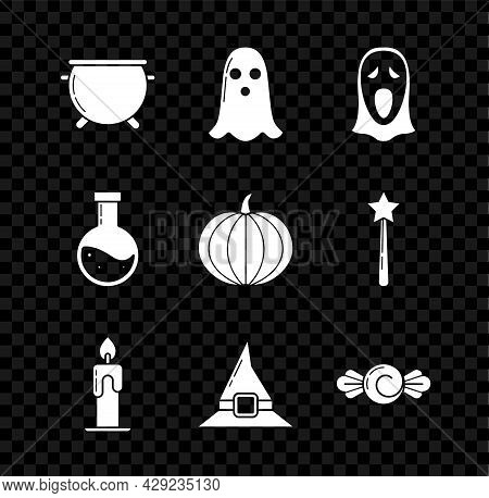 Set Halloween Witch Cauldron, Ghost, Funny And Scary Ghost Mask For, Burning Candle, Witch Hat, Cand