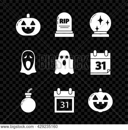 Set Pumpkin, Tombstone With Rip, Magic Ball, Bomb Ready Explode, Calendar Halloween Date 31 October,