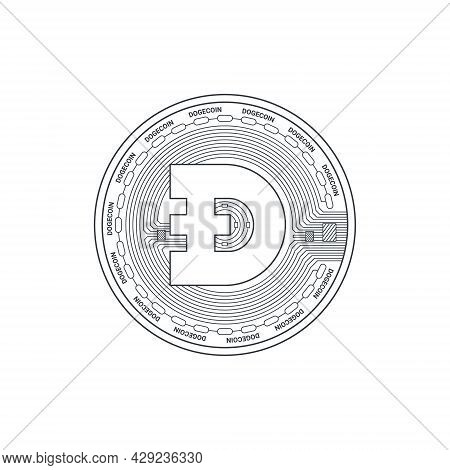 Dogecoin Icon. Cryptocurrency Logo. Digital Cryptographic Currency Dogecoin. Dogecoin Sign Concept.
