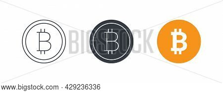 Bitcoin Icons. Cryptocurrency Logo Variations. Digital Cryptographic Currency Bitcoin. Vector Illust