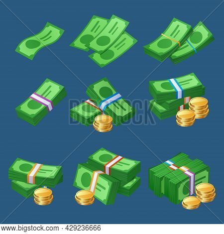 Money Cash Icons With Coins Stacks And Bundles Of Bills. Vector Cartoon Set Of Bank Currency With Pa
