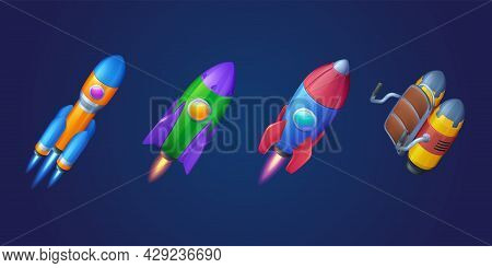 Rockets, Shuttles And Jetpack Isolated On Blue Background. Vector Cartoon Futuristic Design Of Diffe