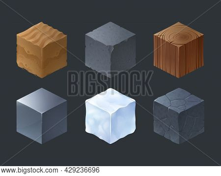 Isometric Texture Cubes For Game With Pattern Of Wood, Stone, Cement, Ice, Iron And Sand. Vector Car