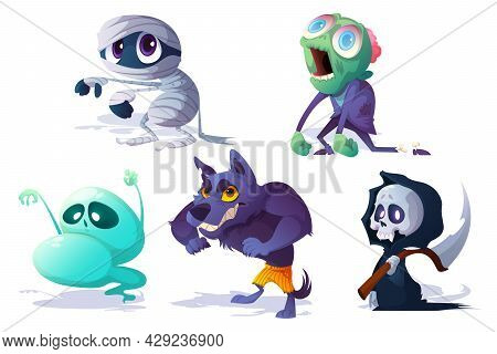Scary Halloween Characters, Ghost, Zombie And Werewolf Isolated On White Background. Vector Cartoon