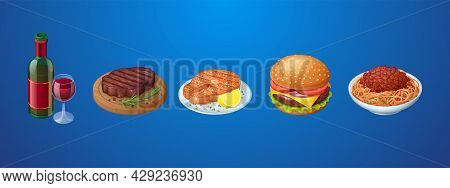 Set Of Restaurant Or Fastfood Meals And Bottle Of Red Wine With Glass. Beefsteak With Rosemary Herb