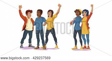 Black Lives Matter, Forever Best Friends, Friendship And Love Concept With Multiracial Young People