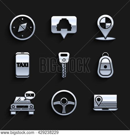 Set Car Key, Steering Wheel, Laptop With Location Marker, Remote, Taxi Car, Call Telephone Service,