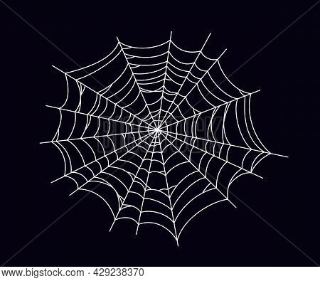 Round Scary Spider Web. White Cobweb Silhouette Isolated On Black Background. Hand Drawn Spider Web