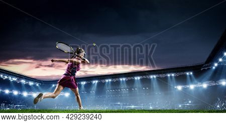 Young woman playing tennis in action. Mixed media