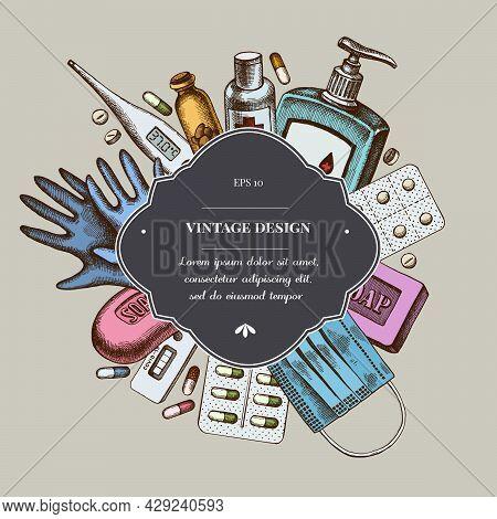 Badge Over Design With Pills And Medicines, Medical Face Mask, Sanitizer Bottles, Medical Thermomete