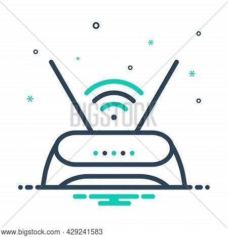 Mix Icon For Router Antenna Hub Wifi Connection Wireless Internet Communication Modem Signal Transmi