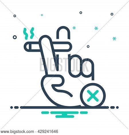 Mix Icon For Ban Sanction Prohibit Moratorium Interdiction Duress Taboo Smoking Smolder