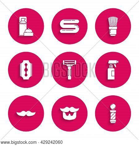 Set Shaving Razor, Mustache And Beard, Classic Barber Shop Pole, Hairdresser Pistol Spray Bottle, Bl
