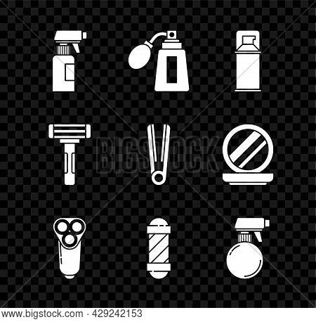 Set Hairdresser Pistol Spray Bottle, Aftershave With Atomizer, Shaving Gel Foam, Electric Razor Blad