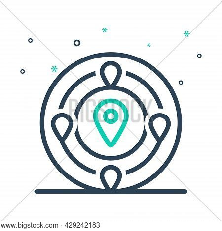 Mix Icon For Nearby Adjacent Neighboring Near Close Nearby Nigh Short Gps Mark Navigation Location M