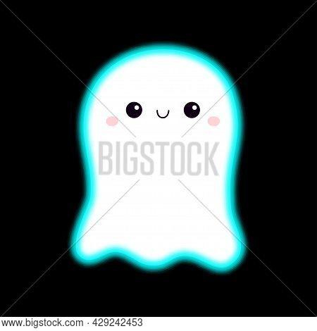 Flying Ghost Spirit. Happy Halloween. Scary White Glowing Ghosts. Neon Blue Effect. Cute Cartoon Spo