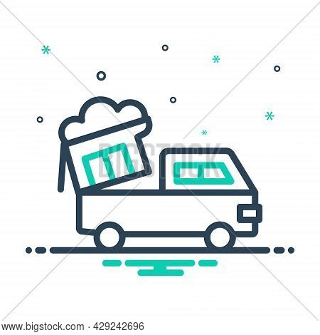 Mix Icon For Waste Worthless Garbage Rubbish Van Sweepings Trash Dumping-truck Recycle Disposal
