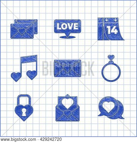 Set Envelope With Valentine Heart, Heart Speech Bubble, Wedding Rings, Castle The Shape Of, Music No