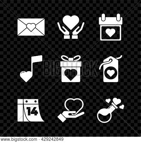 Set Envelope With Valentine Heart, Heart On Hand, Calendar, February 14, Bottle Love Potion, Music N