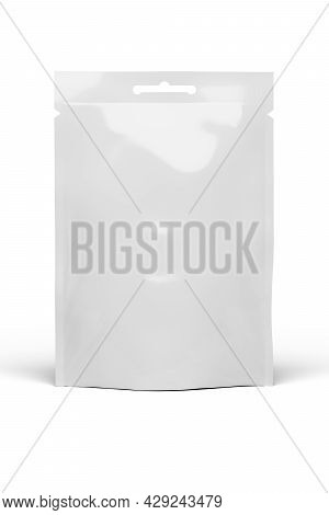 White Blank Food Doy Pack Stand Up Pouch Bag, Mockup Template. Isolated On White Background, 3d Rend