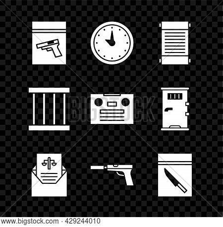 Set Evidence Bag And Pistol Or Gun, Clock, Decree, Paper, Parchment, Scroll, Subpoena, Pistol With S