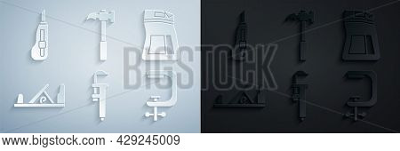 Set Calliper Or Caliper And Scale, Cement Bag, Wood Plane Tool, Clamp Screw, Claw Hammer And Station