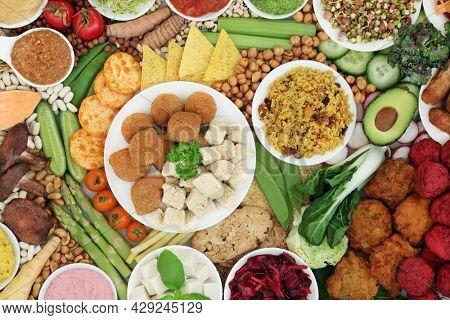 Vegan super food for a plant based healthy diet high in antioxidants, protein, omega 3, dietary fibre, anthocyanins, smart carbs, vitamins and minerals. Ethical eating healthy planet concept.