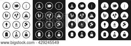 Set Dagger, Magic Runes, Stone, Wizard Warlock, Masons, Fireball, Fog Or Smoke And Hand Mirror Icon.