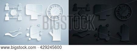 Set Bar Of Soap, Stop Virus, Ebola Disease, Medical Rubber Gloves, Dna Spiral And Computer And Virus