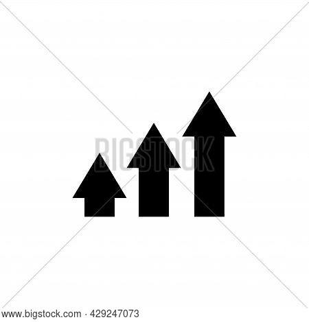 Up Arrow, Finance Profit, Growth Graph. Flat Vector Icon Illustration. Simple Black Symbol On White