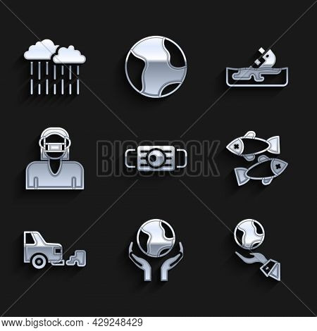 Set Medical Protective Mask, Hands Holding Earth Globe, Dead Fish, Car Exhaust, Face, Wrecked Oil Ta