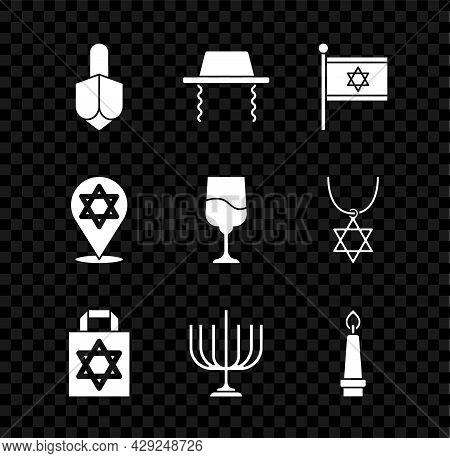 Set Hanukkah Dreidel, Orthodox Jewish Hat, Flag Of Israel, Shopping Bag With Star David, Menorah, Bu