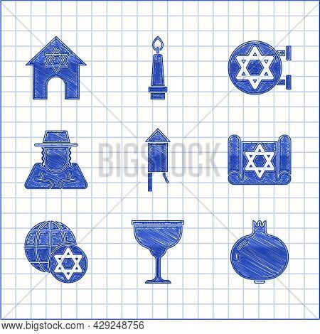 Set Firework Rocket, Jewish Goblet, Pomegranate, Torah Scroll, World Globe And Israel, Orthodox Jewi