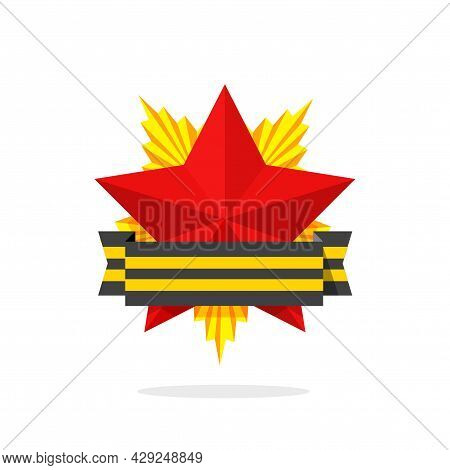Order Of Bravery Medal Achievement With Red Star Icon Vector Or Retro Old Soviet May 9 Victory Honor