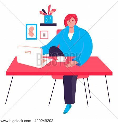 Freelancer Working At Home Office Concept. Woman Sitting With Laptop At Desk. Freelance Workplace, R