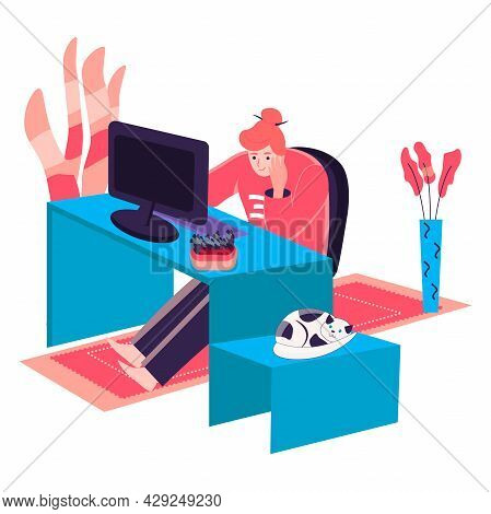 Woman Working At Home Office Concept. Freelancer Sitting With Computer At Desk. Freelance Workplace,