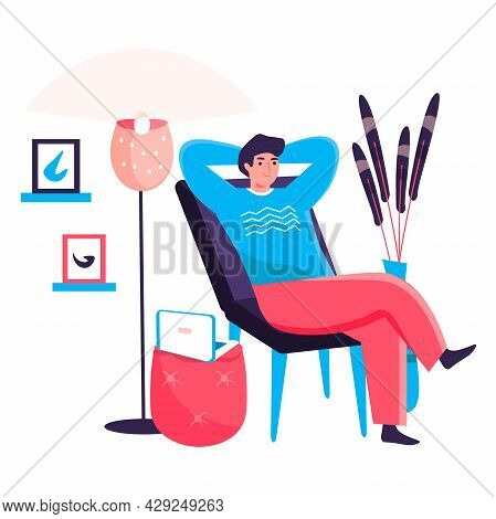 Man Working At Home Office Concept. Freelancer Resting Leaned Back In Chair. Freelance Workplace, Re
