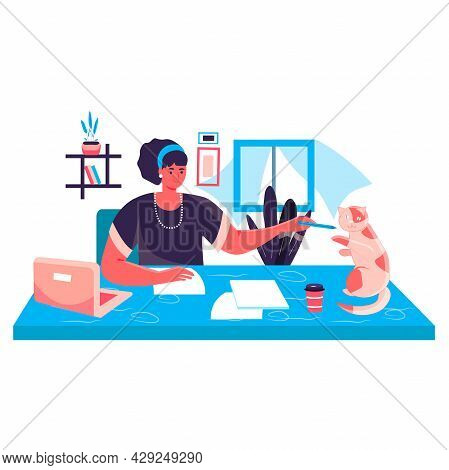 Woman Working At Home Office Concept. Freelancer Drawing And Playing With Cat. Freelance Workplace,
