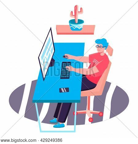 Programming And Software Development Concept. Man Comes Up With And Writes Program Code At Computer,