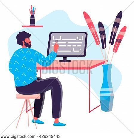 Programming And Software Development Concept. Man Developer Optimizes Program Code At Computer, Prog