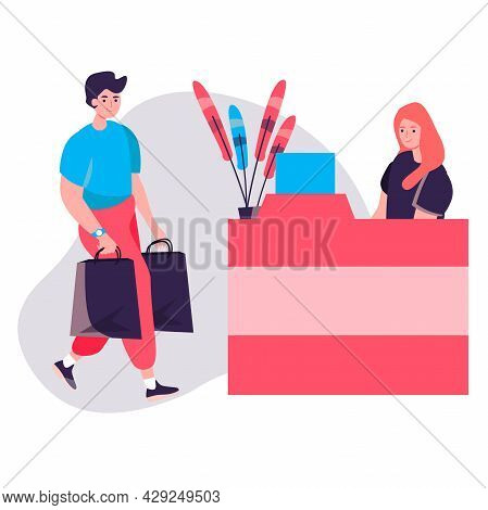 Shopping Man Concept. Man Client Carries Purchases In Bags For Payment At Checkout Cash Desk. Custom