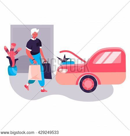 Shopping Man Concept. Man Buyer Carrying Purchases And Loading Bags Into Car. Customer Buying At Sho