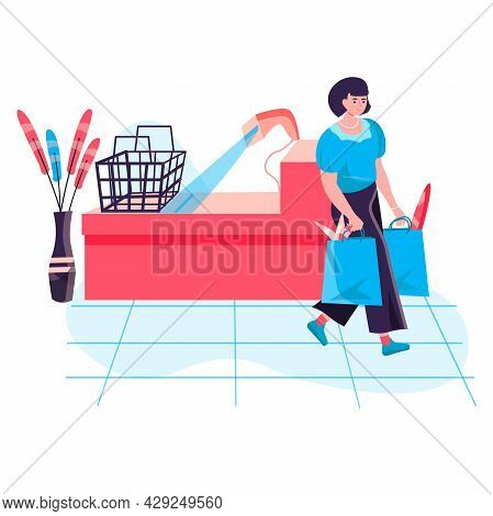 Shopping Woman Concept. Female Buyer Carrying Purchases After Payment At Checkout Cash Desk. Custome