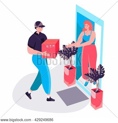 Delivery Service Concept. Courier Delivers Parcel To Customer At Home, Woman Receives Order. Express