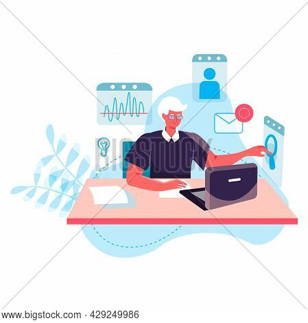 Business Process Concept. Man Analyst Working At Laptop, Analyzes Data, Researching Statistics. Acco