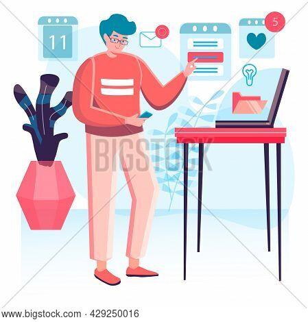Business Process Concept. Man Analyst Analyzes Data, Researching Statistics, Making Presentation. Ac