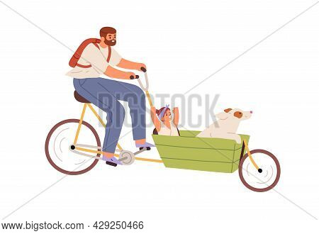 Happy Father Riding Cargo Bicycle With Child And Dog In Carriage. Dad Cycling Bike With Kid. Daddy T