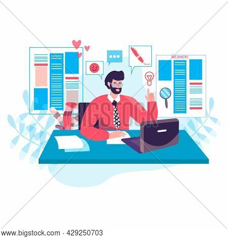 Journalism Concept. Editor Works In Editorial Office Of Online Media Or Newspaper And Selects Articl