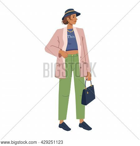 Woman Fashion Model In Stylish Outerwear Autumn Spring Collection Isolated Flat Cartoon Character. V