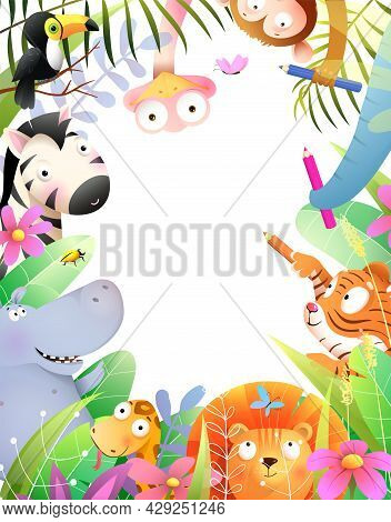 Cute Baby Animals Drawing With Pencils, Jungle Kids Invitation Or Diploma Frame Design With Empty Co